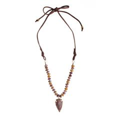 Mookaite, Arrowhead + Deerskin Suede Necklace