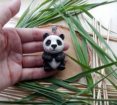 Panda pendant I made of polymer clay , waxed cord. The size of the panda is about 5 cm or 1.97 inches   May be insignificant difference, but I promise you that this will be... #polymerclay #animaltotem #jewelryanimals