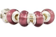purple glass beads with silver foil. Pandora Glass Beads, Glass Jewelry, Pandora Compatible Charms, Cheap Pandora, Buy Jewellery Online, Custom Charms, Pandora Bracelet Charms, Purple Glass, Wholesale Jewelry