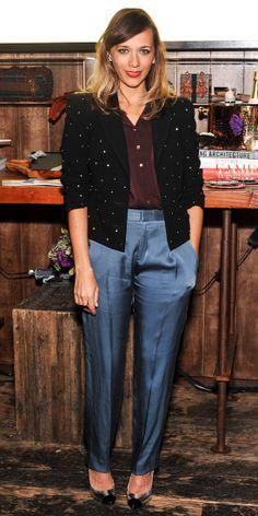 Rashida Jones wore a Vena Cava blazer and Theyskens' Theory pants at the Wantful: Art of Giving dinner in Los Angeles. Rashida Jones, New Street Style, Shes Perfect, Who What Wear, Get Dressed, Fashion Dresses, Women's Fashion, Fashion Ideas