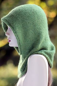 Friend of the Forest Hood: made with 250 - 350 yards of aran weight yarn and size US 9 needles Knit Hats, Knitting Hats, Knitted Hats Kids, Knitted Cowls, Dishcloths To Knit, Knitting Needles, Free Knitting, Knit Or Crochet, Knitted Balaclava