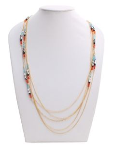 String Them Beads Along Necklace  Light Blue
