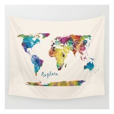 World Map Tapestry Wall Hanging Geometric Map Jewel Tones - World map blanket