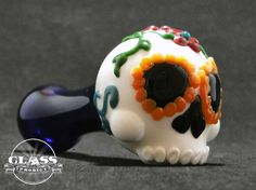 Sugar Skull Glass Pipe