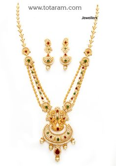 Check out the deal on 22K Gold 'Peacock' Long Necklace & Drop Earrings Set with Ruby,Emerald , Cz & South Sea Pearls at Totaram Jewelers: Buy Indian Gold jewelry & 18K Diamond jewelry