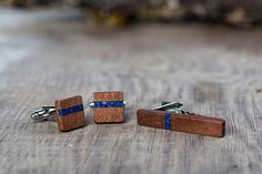 Wooden TIE Clip CUFFLINKS Set  Blue Lapis by KajzarsWoodWork