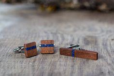 Wooden TIE Clip CUFFLINKS Set  Blue Lapis by KajzarsWoodWork