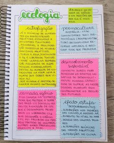 Mais um resuminho feito com post it. Eu amo demais estudar com o caderno assim ♡ . Bullet Journal School, Bullet Journal Notes, Motivation Letter, Study Motivation, Class Notes, School Notes, College Notes, Study Organization, School Study Tips