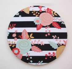 Floral Mouse Pad mouse pad / Mat – Black and white stripes metallic gold flowers round or rectangle – office accessories desk home decor – Chic Home Office Design Gold Office Decor, Office Desk, Stencil, Gold Flowers, Floral Flowers, Student Gifts, School Gifts, Home Office Design, Library Design