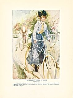 """The Etiquette of Cycling,"" one of 8 color illustrations from Twentieth Century Etiquette (1912).  Available at uncannyartist.com/products/illustrations-etiquette"
