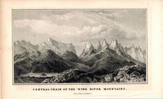 Central Chain Of The Wind River Mountains 1845 Antique Litho Print by Weber