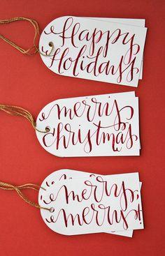 amazing calligraphy! Hand-Lettered holiday gift tags. $8.00, via Etsy. @maryelizabeth mcginn