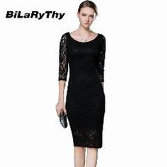 [ 21% OFF ] Women Black Lace Autumn Dress Ladies Three Quarter Pencil Wrap Celebrity Elegant Midi Bodycon Party Bandage Dresses Plus Size