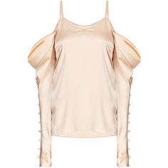 Gold Draped Cold Shoulder Blouse | Moda Operandi (€546) ❤ liked on Polyvore featuring tops, blouses, pink cami, open shoulder blouse, pink blouse, cami top and cold shoulder tops