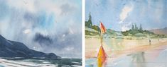 Examples of cool and warm colour contrast and harmony in water colour seascape painting #watercolor #paintingtutorial #watercolorarts #acuarelas #watercoloring #howtopaint Watercolor Paintings Nature, Watercolor Art Lessons, Watercolor Tips, Watercolour Tutorials, Seascape Paintings, Watercolor Techniques, Landscape Paintings, Watercolours, Beach Sketches