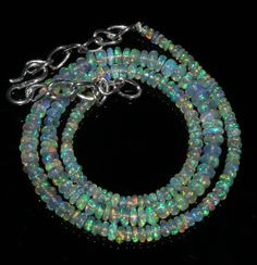 """35 Crts 1 Necklace 3to5mm 15"""" Beads Natural Ethiopian Welo Fire  Opal  61156"""