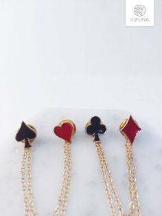 Playing cards collar pins- clubs, spades, hearts, diamonds; hearts collar pins; black red pin; alice in wonderland pin by KizunaAccessory on Etsy https://www.etsy.com/listing/502079402/playing-cards-collar-pins-clubs-spades