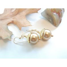 Acorn Earrings, Swarovski Crystal Pearl Earrings, Swarovski Acorn... ($18) ❤ liked on Polyvore featuring jewelry, earrings, swarovski crystals earrings, earring jewelry, pearl earrings, swarovski crystal jewelry and white pearl earrings