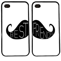 BFF Gifts for Her: Best Friends / Couples Mustache Phone Cases for iPhone 4 / 5 / 5s by Kasia Kases @ Etsy