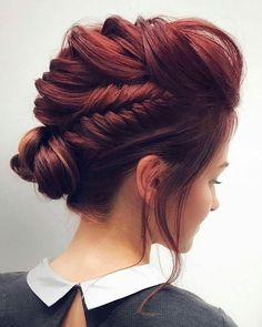 Red updo bride hairstyle - unique hairstyle ideas