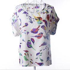 new Large size women printing blouse bird bat shirt short-sleeved chiffon blusas femininas roupas summer style