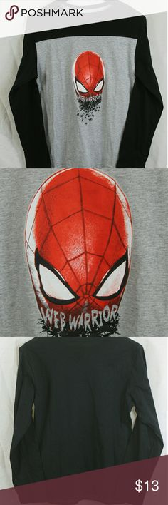 "BOYS MARVEL SPIDER-MAN LONG SLEEVE SHIRT XL NWT SIZE:     XL    ARMPIT - TO - ARMPIT:     19.5""   LENGTH DOWN BACK:     24""   STYLE:     LONG SLEEVE SHIRT   MATERIAL:     COTTON/POLY   CONDITION:        BRAND NEW WITH TAGS. SOURCED DIRECTLY FROM A NATIONAL UPSCALE U.S. RETAILER. QUALITY AND AUTHENTICITY GUARANTEED! Marvel Shirts & Tops Tees - Long Sleeve"
