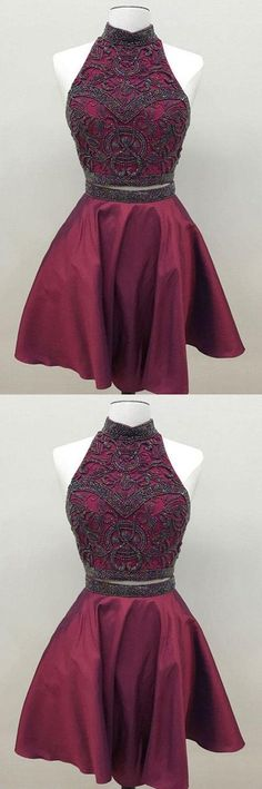 Homecoming Dresses Two Piece, Short Homecoming Dresses, Unique Prom Dresses, Burgundy Homecoming Dresses Short Homecoming Dresses Maroon Homecoming Dress, Two Piece Homecoming Dress, Prom Dresses Two Piece, Cheap Homecoming Dresses, Simple Prom Dress, Unique Prom Dresses, Hoco Dresses, Trendy Dresses, Vintage Dresses