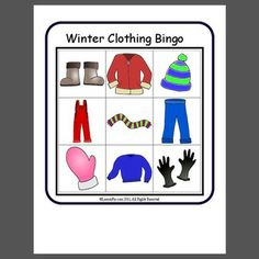 Winter Clothing Bingo - Bingo - Pinned by PediaStaff Please Visit all our pediatric therapy pins Bingo, Preschool Lessons, Preschool Activities, Winter Activities, Preschool Winter, Clothing Themes, Winter Kids, Winter Sport, Creative Curriculum