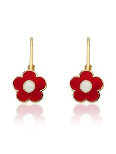 Red Flower Leverback Earring by Little Miss Twin Stars at Gilt