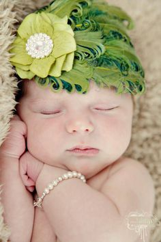 Feather headband - Infant headband - newborn headband -   Toddler headband - Baby headband- YGreen feather headband - Photography prop. $20.00, via Etsy.