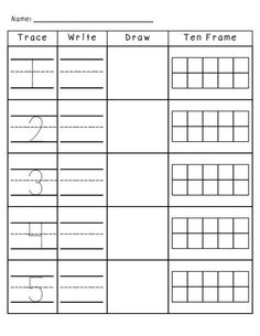 Number Practice Trace, Write, Draw, Fill in Ten Frame. Plus a TON more number activities! I would do this with two digit numbers and have a number line instead of a ten frame for my third graders Numbers Preschool, Math Numbers, Learning Numbers, Writing Numbers, Number Writing Practice, Teen Numbers, Decomposing Numbers, Ten Frame Activities, Number Activities