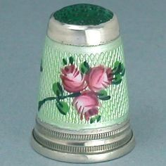 Vintage Stone Top Enameled Sterling Silver Thimble w/Roses; Mid 20th Century