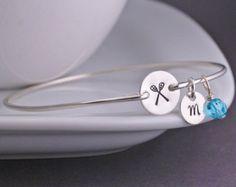 Lacrosse Bracelet, Jewelry for Lacrosse Mom, Personalized Lacrosse Bangle Bracelet, Sports Jewelry, Athletic Jewelry