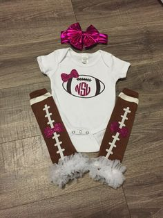 A personal favorite from my Etsy shop https://www.etsy.com/listing/467141049/free-shipping-girls-football-outfit