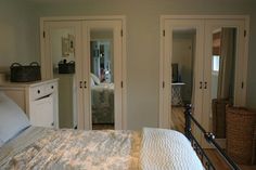 DIY closet door makeover on the cheap-Want to take out the accordion doors in our master and do something like this.