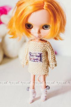 """Light beige jumper for Blythe """"I have the best Mom in the world"""" by RVSandM on Etsy Beige Jumpers, Light Beige, Best Mom, Sweater, Handmade, Stuff To Buy, Etsy, Color, Sweater Cardigan"""