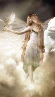 Angel Strolling on the Clouds