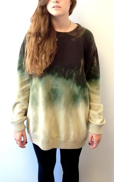 Hand-Dyed Bleached Cotton Sweater in Green and Pale Yellow Ombre- need to be creative enough to figure out how to do this myself!