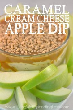 Caramel Cream Cheese Apple Dip You seriously won't believe how easy it is to make this sweet creamy caramel apple dip! Dangerously addictive, it comes together in less than 5 minutes with just 3 easy ingredients! Perfect for potlucks and parties or just Cream Cheese Apple Dip, Apples And Cheese, Easy Cream Cheese Recipes, Apple Pie Dip, Cream Cheese Ball, Dessert Dips, Köstliche Desserts, Dessert Recipes, Health Desserts