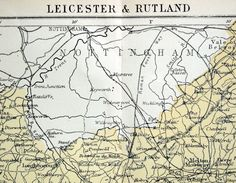1890s Antique Map of Leicester and Rutland, the UK
