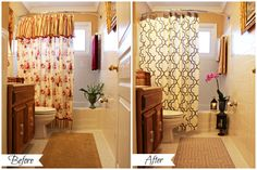 Camille's Bathroom Mini Makeover Before and After......article for the bathroom, but you can see how just swapping out a few items and accent colors can change the way a space looks, and the principle can be applied to other rooms/spaces.