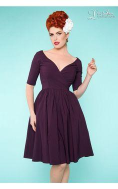 Pinup Girl Clothing - Loren Dress in Plum | Pinup Girl Clothing