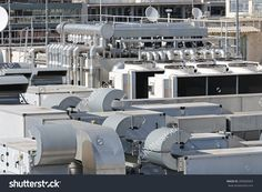 Heating Ventilation And Air Conditioning At Building Roof Fotka: 285809963 : Shutterstock System Architecture, Insulation Materials, Rhone, Dubai, Construction, Stock Photos, Building, Conditioning, Ac Units