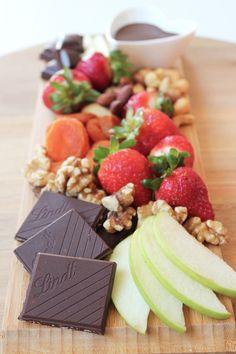 easy healthy dessert idea- fuit, nut and dark chocolate