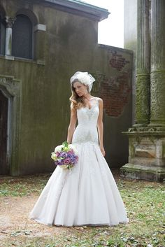 The Allure Bridal 9127 is an absolutely show-stopping drop waist gown with beading! Wedding Dress Sizes, Wedding Dresses, Latest Wedding Gowns, Quinceanera Dresses, Wedding Styles, Wedding Ideas, Bridal Gowns, Wedding Hairstyles, Flower Girl Dresses