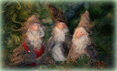 needle felted Shetland wool Gnomes
