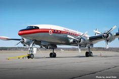 A Trans-Canada Air Lockheed Super Constellation. The squared-end propellers are authentic. They are a Curtis Electric design and were installed on Trans-Canada Super Constellations. Most Super Constellations had Hamilton Standard props, but KLM, Pakistan International, Qantas, Seaboard, Western, and Trans-Canada had Curtis Electric props on at least some of their aircraft.