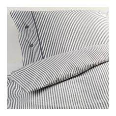 Gray stripe duvet and pillowcases from Ikea. NYPONROS Duvet cover and pillowcase(s) - Full/Queen (Double/Queen) - IKEA Cama Ikea, Cama Murphy Ikea, Murphy-bett Ikea, Murphy Bed, Ikea Hack, Ikea Duvet Cover, Duvet Cover Sets, Cover Pillow, Linen Bedding