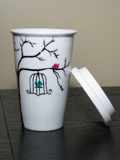 Travel Coffee Mug Painted Porcelain Caged Bird par PrettyMyDrink