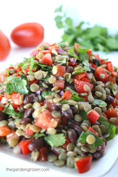 Black Bean Lentil Salad with Cilantro and Cumin-Lime Dressing. Great for potlucks and packed lunches! (vegan, gluten-free)